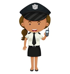 Policewoman in black and white uniform vector