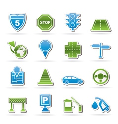 road and travel icons vector image vector image