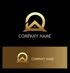 roof home realty gold logo vector image