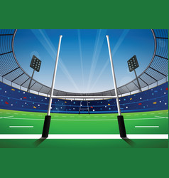 rugby field with bright stadium vector image