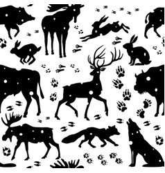 seamless pattern with wild animals vector image