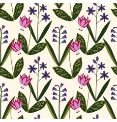 Seamless spring plants pattern vector