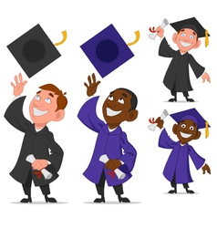 Set of graduates vector image vector image