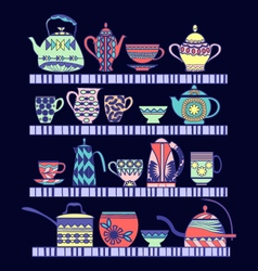 set of tea collection with a tea pot tea cup jars vector image