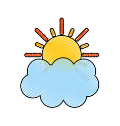 summer sun with cloud vector image vector image