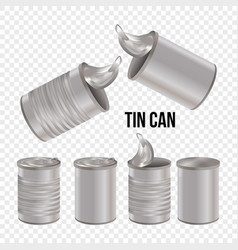 tin can line style art set transparent background vector image