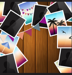 travel photo collage on wooden background vector image vector image