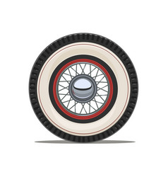 Vintage car wheel with spoke vector