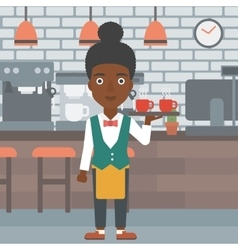 Waiteress holding tray with beverages vector
