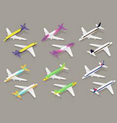 white passenger airplane color icon set isometric vector image vector image