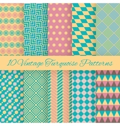 10 vintage turquiose seamless patterns vector