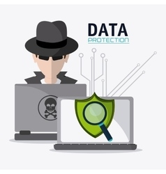 Data protection and cyber security system vector