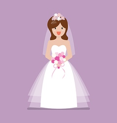 Girl in bride dress vector