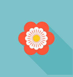 Six petals red flower icon vector