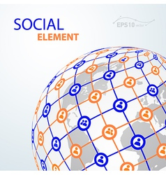Social element globe worldwide vector