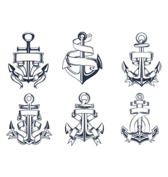 Marine themed ships anchor icons with ribbons vector