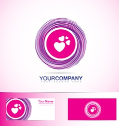 Pink love heart inside circle logo vector