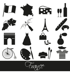 France country theme symbols and icons set eps10 vector
