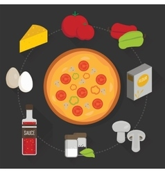 Process of cooking pizza vector image