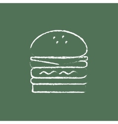 Double burger icon drawn in chalk vector