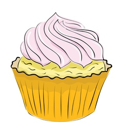 Cake with whipped cream on a white background vector