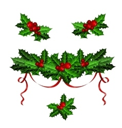 Decorative elements with christmas holly set vector