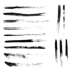Set of 14 artistic mascara brush strokes vector