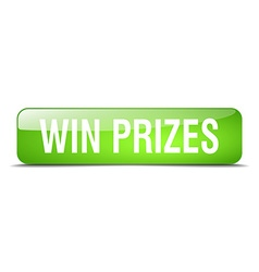 Win prizes green square 3d realistic isolated web vector