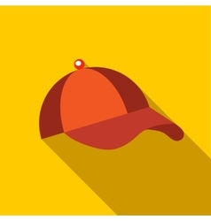 Orange baseball hat icon flat style vector