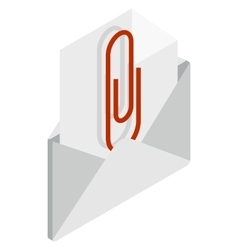 Attached document to email icon vector