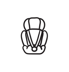 Baby car seat sketch icon vector