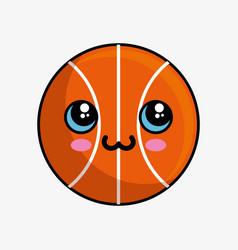 basketball balloon character kawaii vector image vector image
