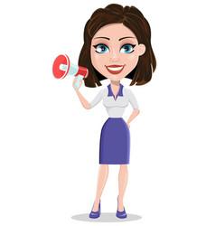beautiful business woman holding loudspeaker vector image