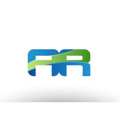 Blue green ar a r alphabet letter logo vector