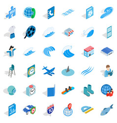 Blue plane icons set isometric style vector