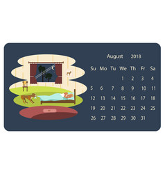 calendar 2018 for august vector image vector image