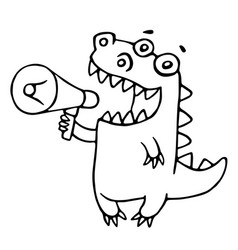 Cartoon dragon says in speakerphone vector