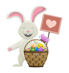 cartoon easter bunny with basket vector image vector image