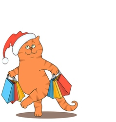 Cat and bags santa vector