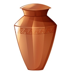 Clay vase on white background vector