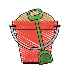 Color crayon stripe image bucket with sand and vector