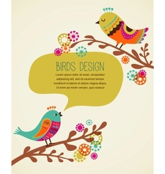 colorful background with cute decorative birds vector image vector image