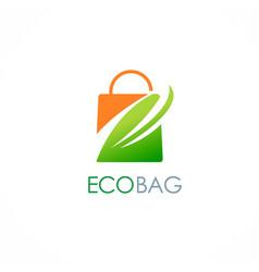 eco shopping bag leaf logo vector image vector image