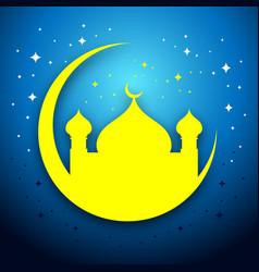 Eid mubarak mosque scene graphic card vector