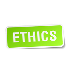 Ethics green square sticker on white background vector