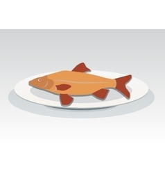 Fish on plate icon Seafood dish symbol vector image