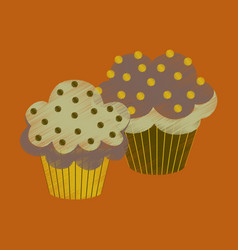 flat shading style icon cupcakes vector image vector image