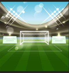 Football stadium background with soccer goal net vector