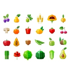 fresh food fruits and vegetables set icons vector image vector image