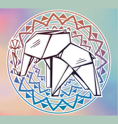 geometric pattern origami elephant with flower vector image